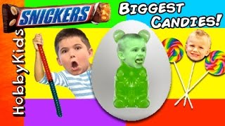 World's LARGEST GUMMY WORM Surprise Egg! Best Candy + HUGE Snickers, Giant Gummy Bear Fun HobbyKids