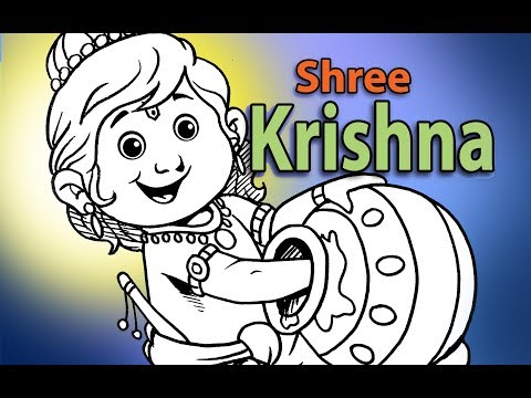 How to Draw LORD LITTLE KRISHNA DRAWING for KIDS || Step By Step || For Beginners