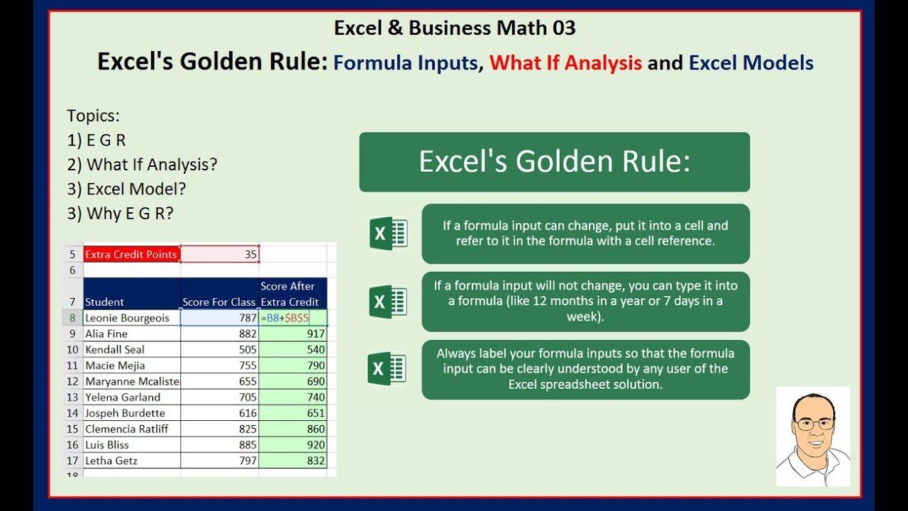 excel  u0026 business math 03  excel u0026 39 s golden rule  formula