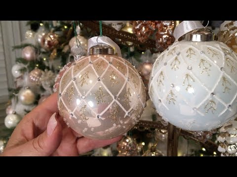 Set of 12 Champagne and White Ornaments