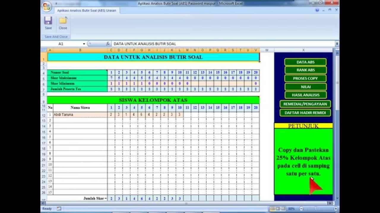 Aplikasi Analisis Butir Soal Essay Dengan Microsoft Excel Oleh Pak