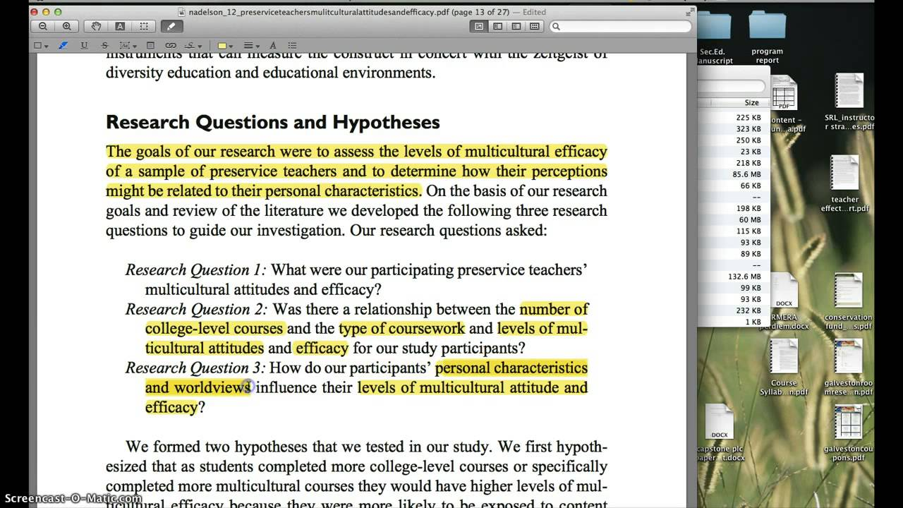 research question hypothesis examples