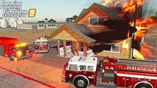 FIRE FIGHTING MASSIVE FIRE!   CENTRAL CALIFORNIA   FARMING SIMULATOR 2019