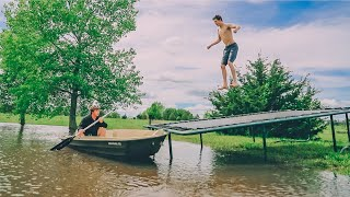 TRAMPOLINE TRICKS INTO FLOODED BACKYARD!