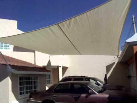 Velaria en mallasombra para cochera youtube for Tipos de toldos para patios