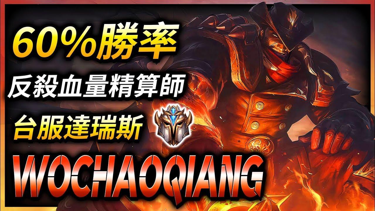 【英雄聯盟】 台服菁英達瑞斯 Wochaoqiang 反殺血量精算師 60%勝率 - League of Legends