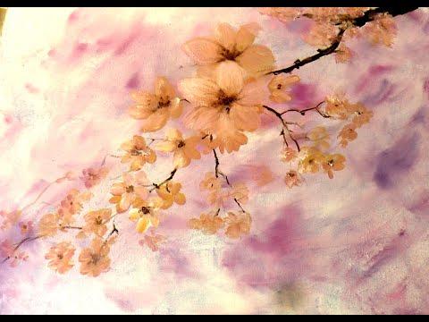 Ветка вишни акрилом. Задний фон пленкой.Sakura in acrylic. Create background
