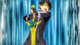 Kirito pulls out the Excalibur (Sword art Online)