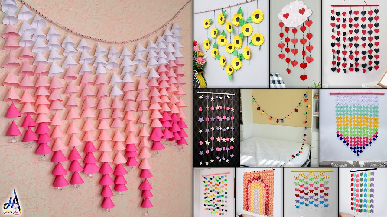 11 Best Paper Wall Hanging Room Decor Making Diy Craft Ideas Youtube