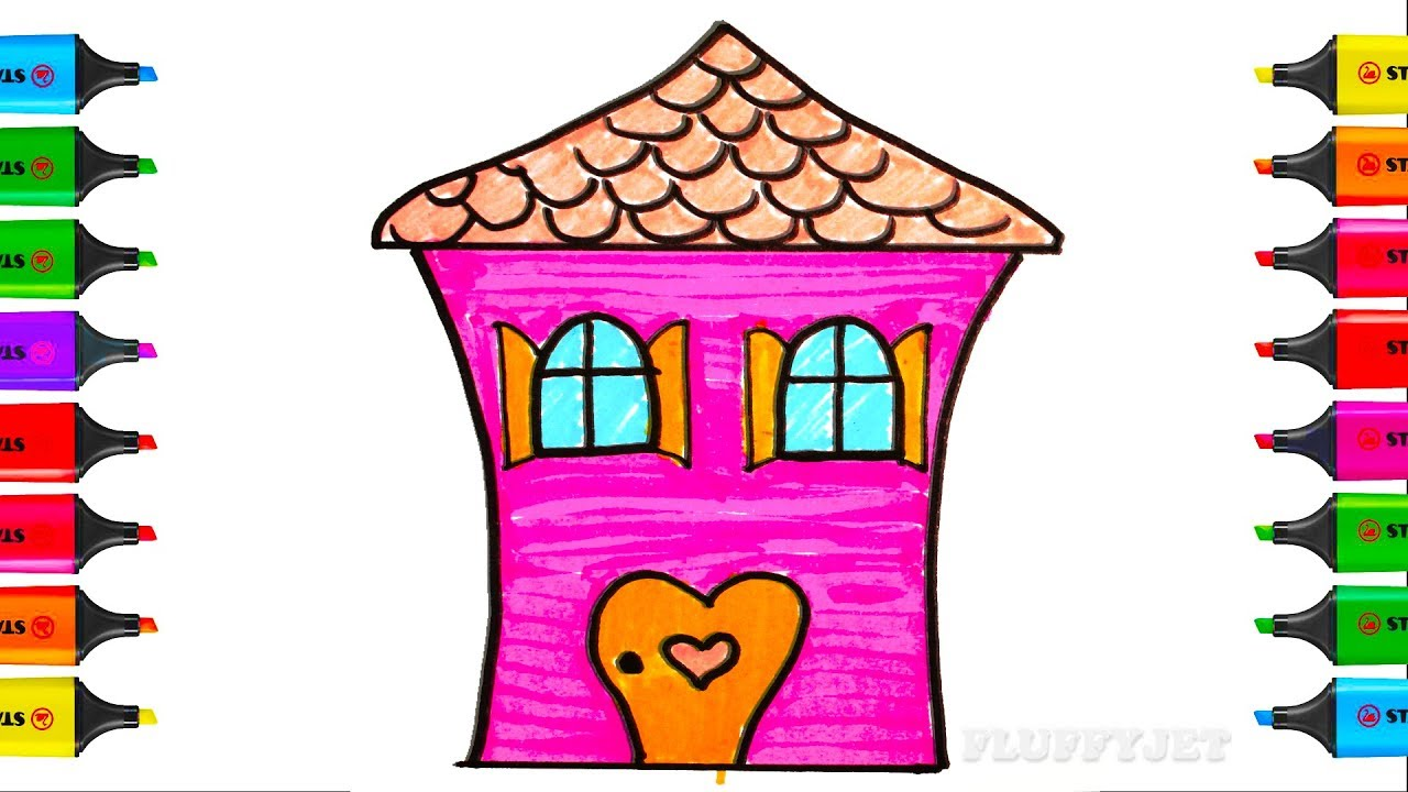How to Draw House Coloring Pages YouTube videos for kids with colors ...