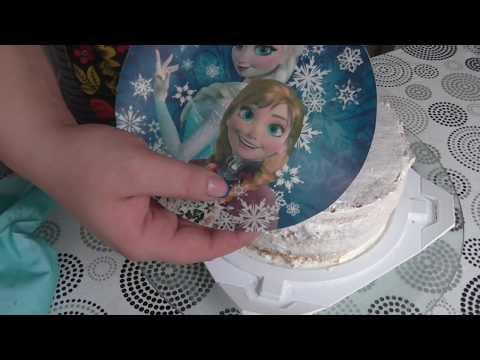 Как украсить торт с вафельной картинкой