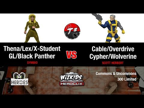 HeroClix - Thena/Green Lantern/Lex vs Cable/Cypher/Wolverine - Common/Uncommons Game