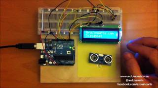 Arduino Tutorial:  Using an ultrasonic range sensor with LCD display and 7 segment led display.