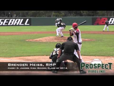 Brenden Heiss Prospect Video, RHP, Harry D Jacobs High School Class of 2016
