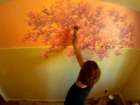 Painting a quick cherry blossom tree mural joe youtube for Cherry blossom mural works