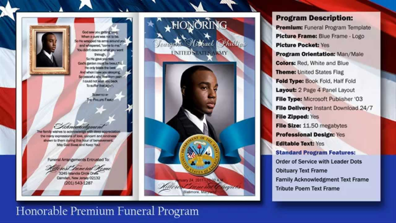 Honorable Funeral Program Obituary | Military   YouTube  Funeral Programs Templates Free Download