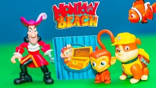 ASSISTANT Plays Monkey Beach Game with Nemo + Paw Patrol  + Captain Hook New Toys Video