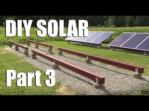 New DIY Ground Solar Installation AC Grid Tied Part 3 (Finishing Ground Mount Base)