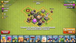 Atacando com feitiço de esqueletos clash of clans