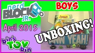 Nerd Block Jr. Boys Unboxing - April 2015! By Bin's Toy Bin
