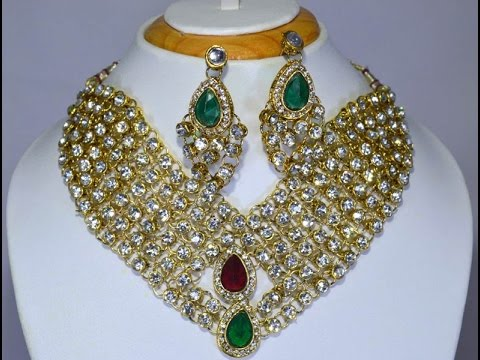Bridal Necklace Set Designer Heavy Arcylic Stone Bridal Wedding