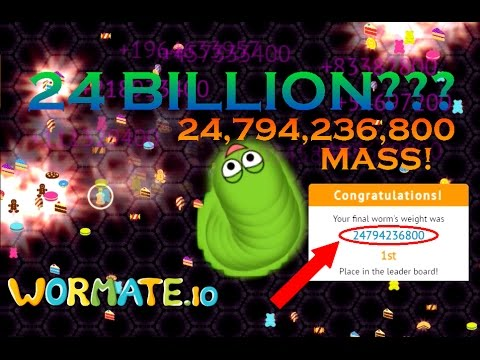 WORMATE.IO NEW WORLD RECORD! | 24,794,236,800 MASS | 24 BILLION MASS IN WORMATE.IO!