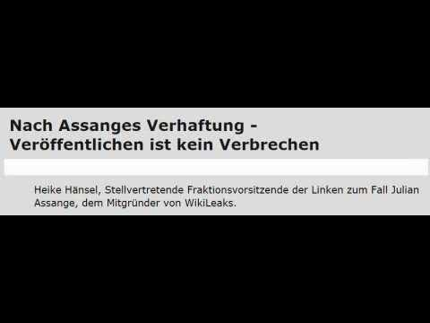 Assange: Veröffentlichen ist kein Verbrechen (Heike Hänsel, stellvertr. Fraktionsvorsitz DIE LINKE)