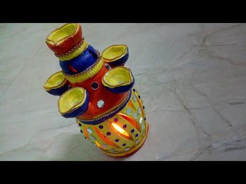 Diwali Lamp Decoration Unique Idea | How To | CraftLas