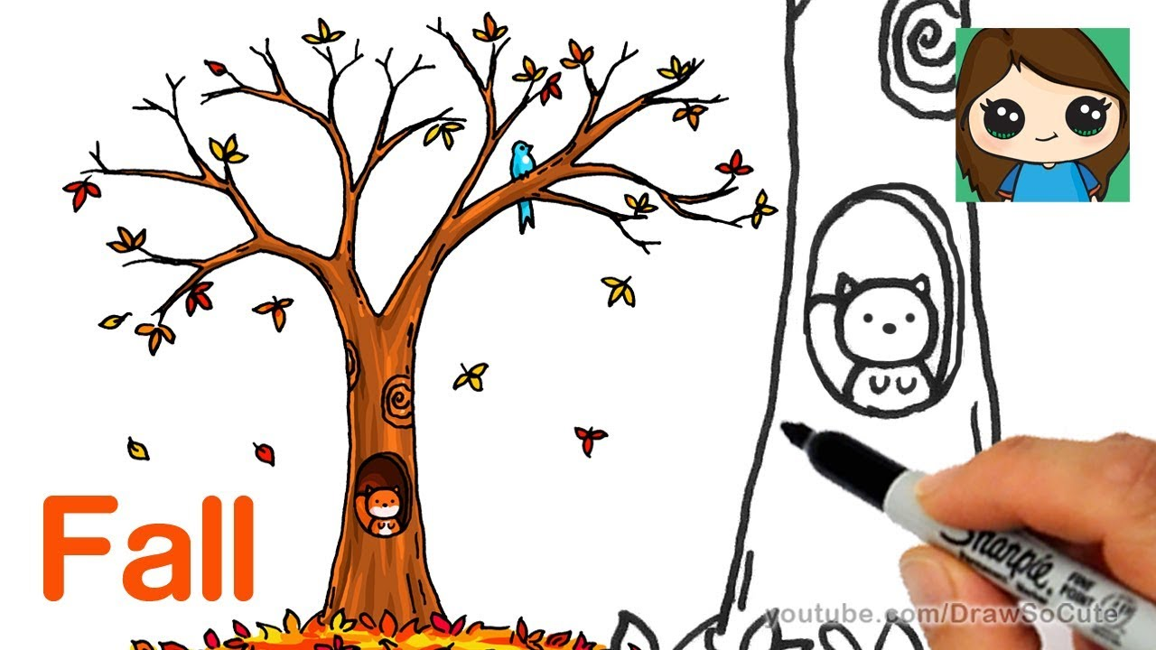 How To Draw A Fall Tree Easy Youtube