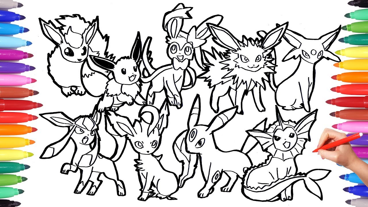 Pokemon Coloring Pages Eevee Evolution | Pokemon coloring book fun ...