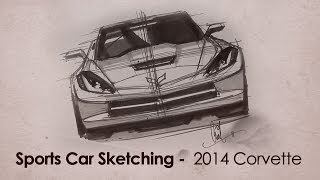 2014 Corvette C7 Front View Sketch