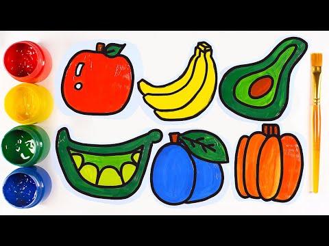Рисуем фрукты и овощи. Рисунки для малышей. - YouTube