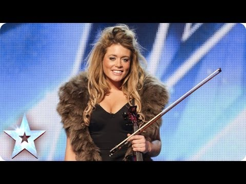 Posh violinist Lettice Rowbotham gives the Judges...