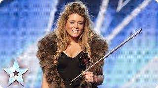 Posh violinist Lettice Rowbotham gives the Judges something new | Britain's Got Talent 2014(See more from Britain's Got Talent at http://itv.com/talent Plummy Lettice impresses the Judges with her super posh personality but her real talent blows them ..., 2014-04-19T18:12:15.000Z)
