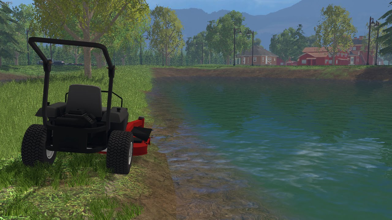 Farming simulator 15 lawn care ep 30 mowing around the for Farm pond maintenance