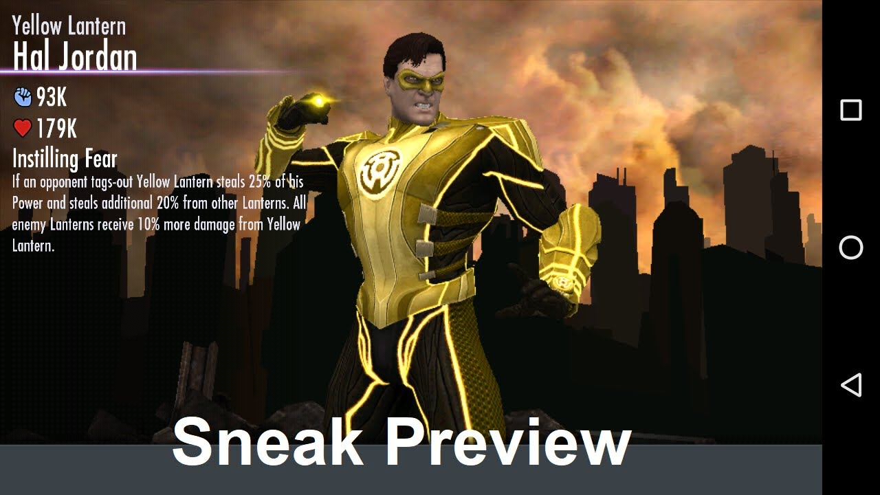 Yellow Lantern Hal Jordan, Injustice Mobile 2.16 Sneak ...