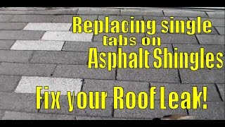 How to Fix Leaking Roof in Asphalt Shingles - Replacing Single Tabs