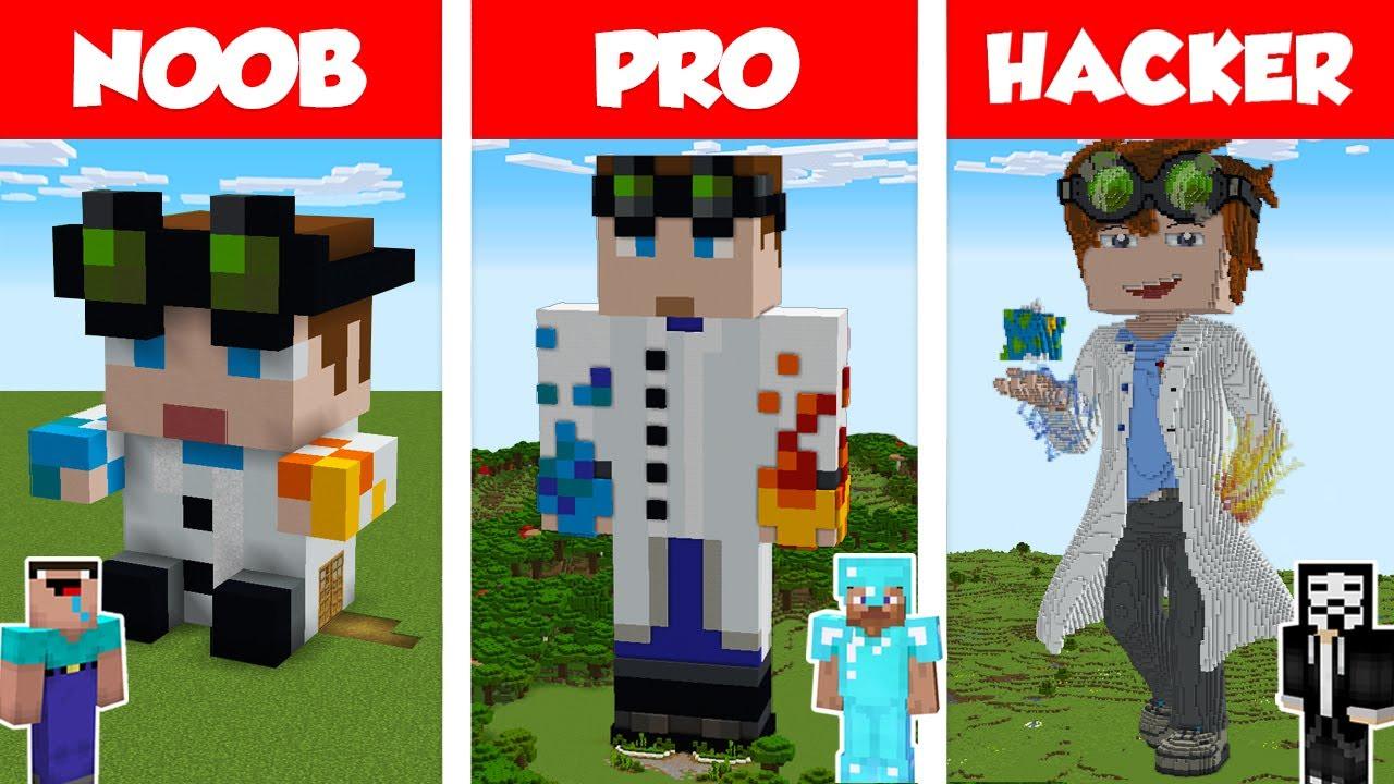 Minecraft NOOB vs PRO vs HACKER: WIEDERDUDE STATUE HOUSE BUILD CHALLENGE in Minecraft / Animation