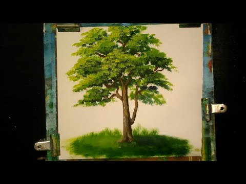 how to paint a tree in oil color(senary painting step 3)