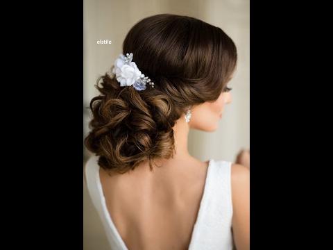 Элегантная свадебная прическа на средние волосы/Вечерняя прическа на средние волосы