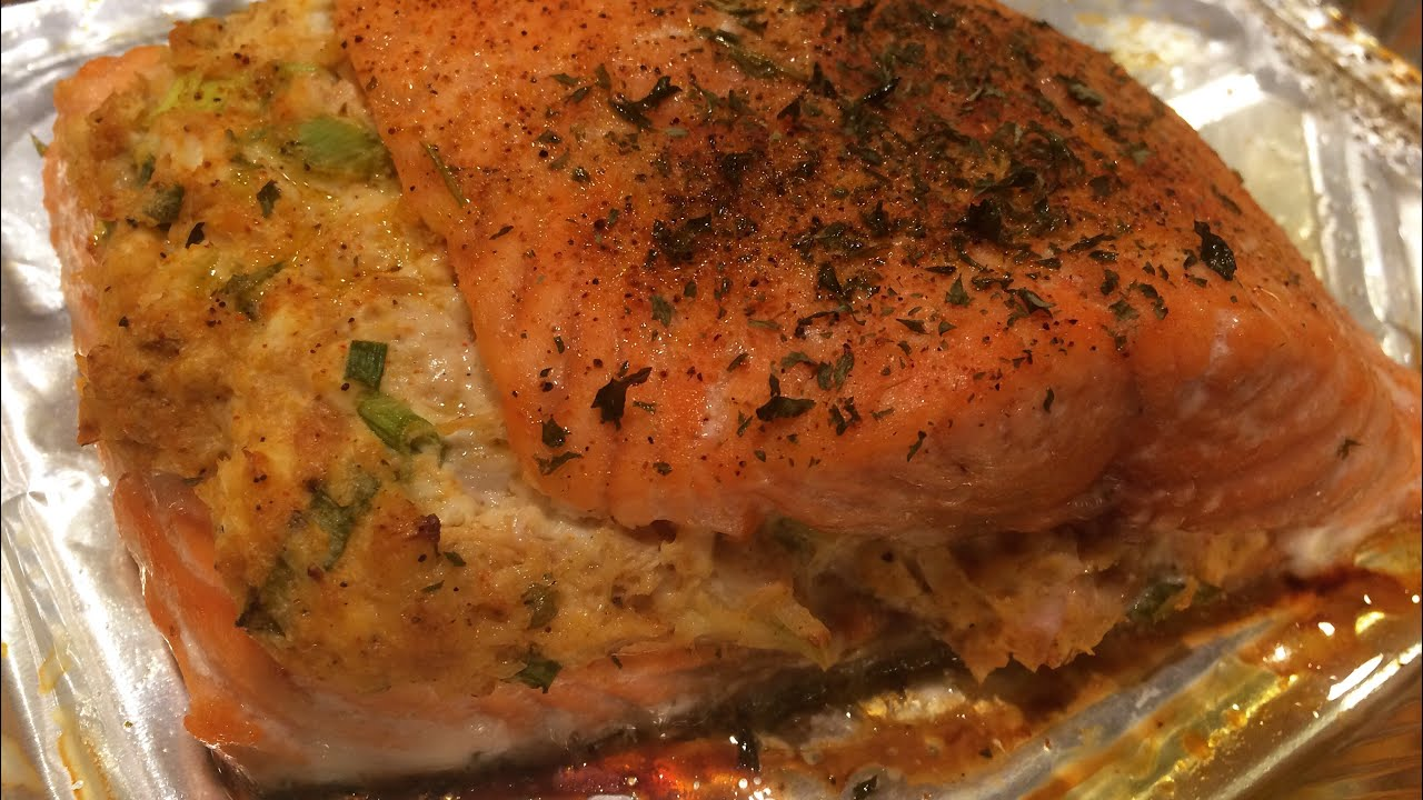 how to make salmon stuffed with crabmeat