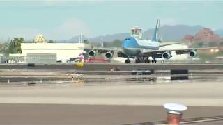 Both Air Force Two then Air Force One Arrive at Sky Harbor International