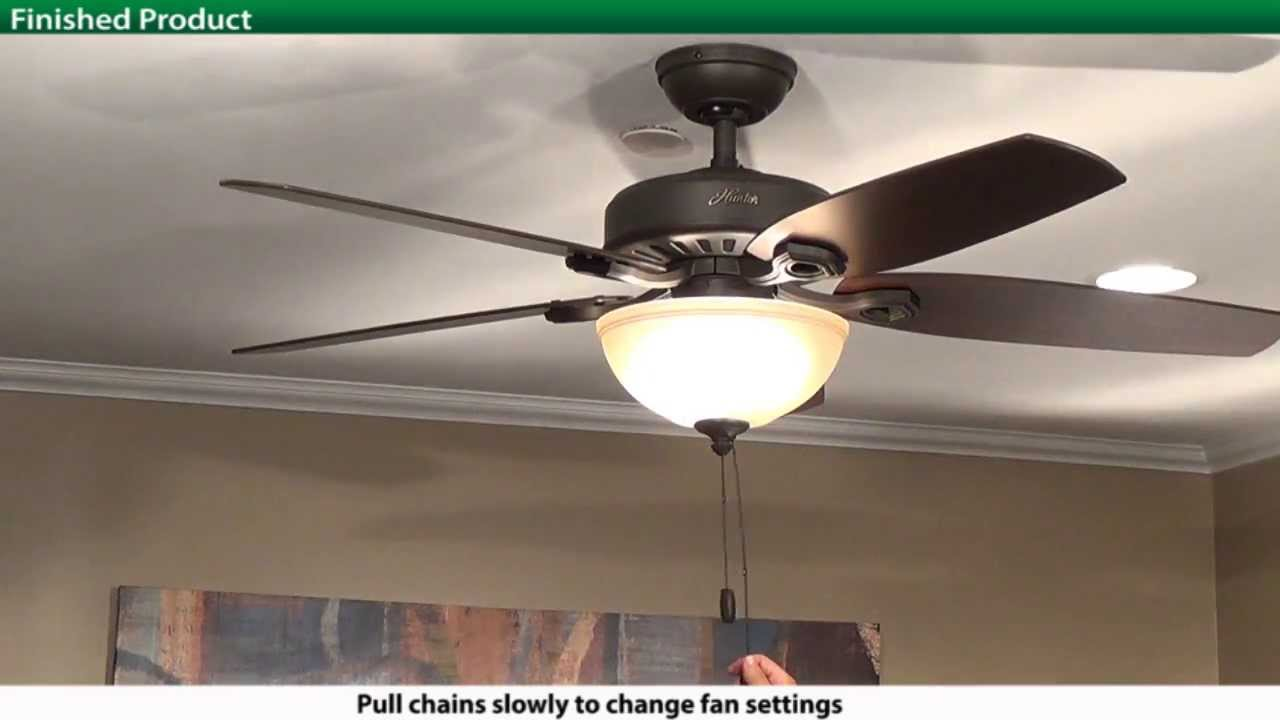 How To Install a Hunter 5x Series Model Ceiling Fan Hampton Bay Fan Pull Chain Ceiling Wiring Diagrams Wh Lc Hl Qv on