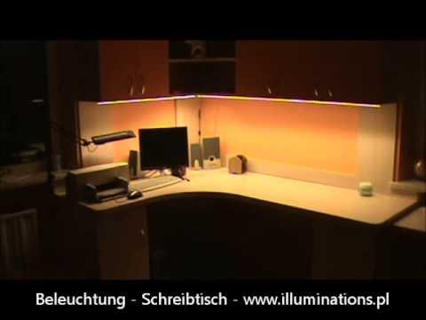 praktischer einsatz led streifen smd5630 beleuchtung schreibtisch youtube. Black Bedroom Furniture Sets. Home Design Ideas