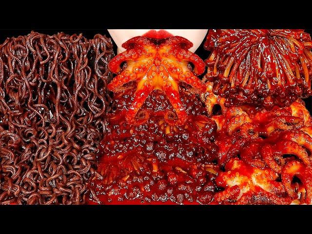 ASMR SPICY ENOKI MUSHROOMS, BABY OCTOPUS, GHOST PEPPER NOODLES 불닭팽이버섯, 쭈꾸미, 고스트페퍼라면 먹방 MUKBANG