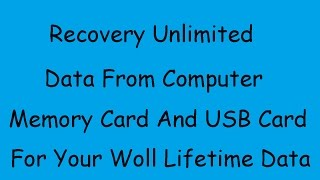 Recover Unlimited Data in Hindi