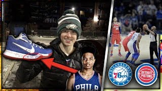 MARKELLE FULTZ SIGNED MY SHOES! SIXERS vs PISTONS GAME VLOG!