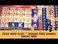 ZEUS 1000 SLOT ** BONUS FREE GAMES ** GREAT WIN - SunFlower Slots