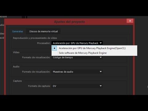 Adobe Premiere Pro CC AMD Radeon HD 5450 Activar Mercury Playback OpenGL