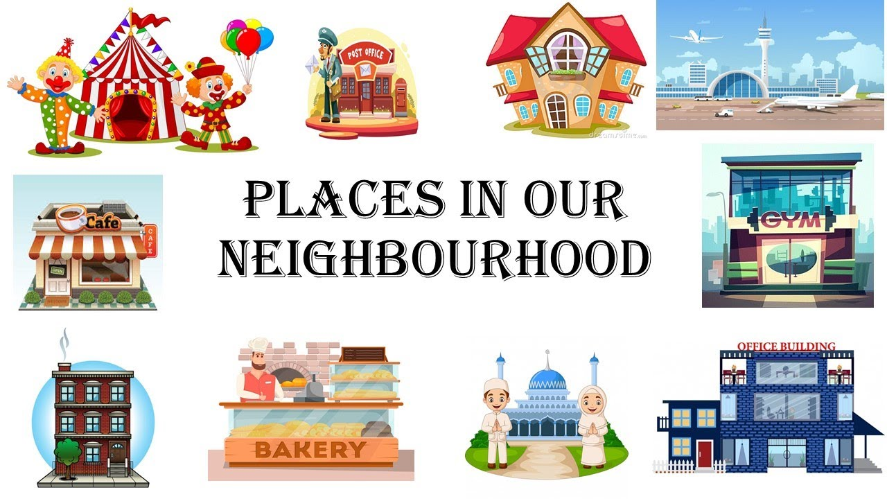 Learn Places in our neighbourhood Places in town   Nouns Places in city    Places English vocabulary - YouTube [ 720 x 1280 Pixel ]
